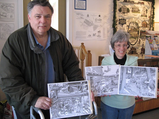 Local author Alan Sterling has collaborated with artist Gary Zaboly in creating four historical prints of events that took place in the Mohawk Valley during the French and Indian and Revolutionary Wars, now available at the Herkimer County Historical Society�s gift shop. Pictured is Alan Sterling with Society director Susan Perkins holding three of the prints.