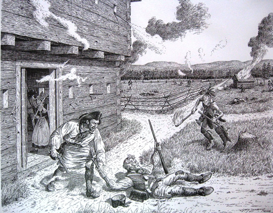 A close up of the Shell Blockhouse attack in 1780.